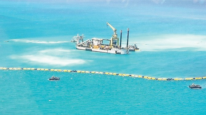 A photo provided by the Bimini Blue Coalition showing the silt spreading from the dredger off Bimini during operations there in 2014.