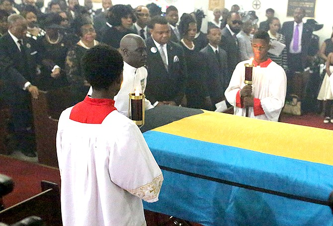 Tributes were paid to Dr Bernard Nottage at a packed funeral service at St Agnes Anglican Church. Photo: Terrel W Carey/Tribune staff