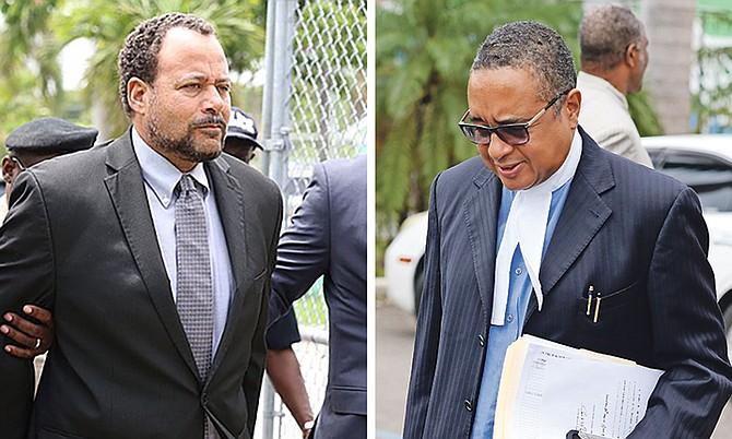 Frank Smith (left - pictured outside court on Thursday) and his lawyer Damian Gomez, QC. Photos: Terrel W Carey/Tribune staff