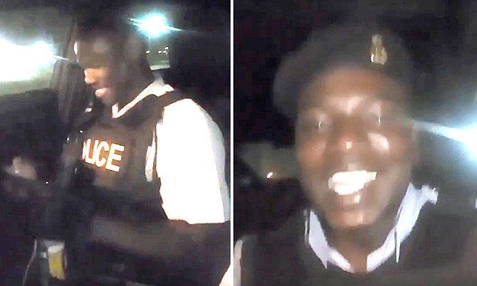 Stills from the video featuring the two officers.