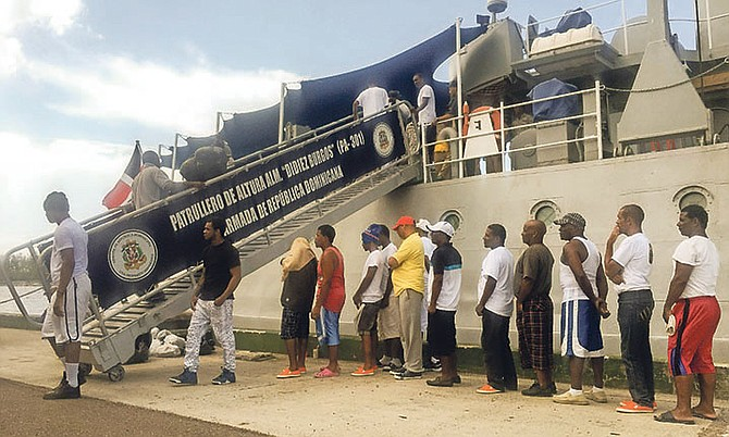 Dominican fishermen headed home after being released. Photo: Royal Bahamas Defence Force