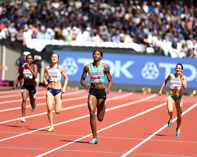 Shaunae Miller-Uibo wins her 400m heat. Photo: Kermit Taylor/Bahamas Athletics