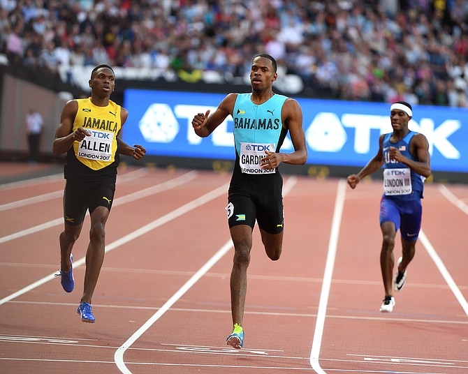 Steven Gardiner on his way to a new national record in his semifinal. Photo: Kermit Taylor/Bahamas Athletics