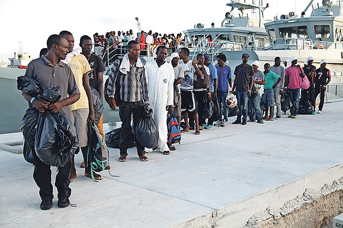 Undocumented migrants at Coral Harbour Base. Photo: Marine Seaman Michael Turner II/RBDF