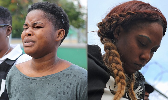 NICOLE Akoela (left) and Iesha Graham outside court. Photos: Terrel W Carey/Tribune staff