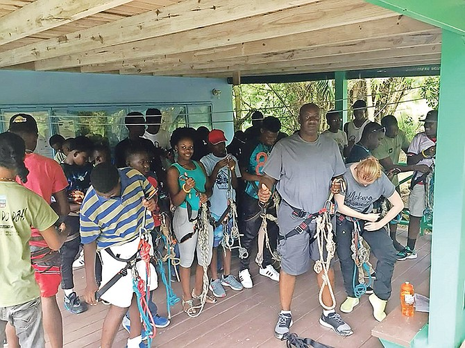 Members of the Boys' Brigade at a summer camp in Antigua recently.