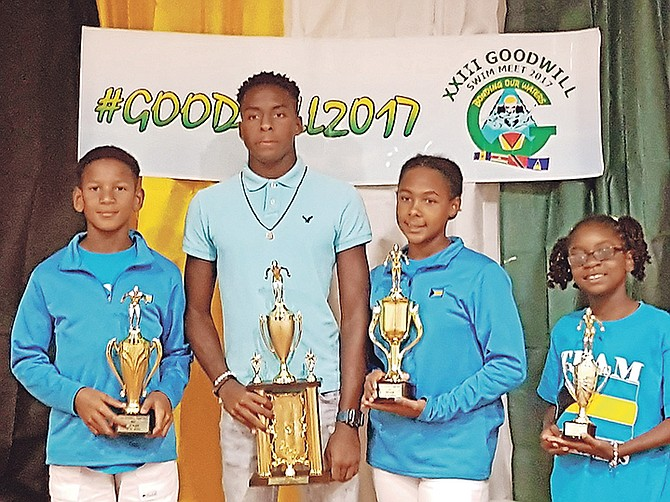High point winners for Team Bahamas, from left: Marvin Johnson, Derron Laing, Keianna Moss and Zoe Williams. Photo - Alcindor Bonamy