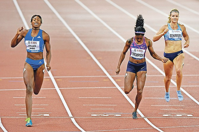 Shaunae Miller-Uibo (left) wins the 200m at the Weltklasse IAAF Diamond League international athletics meeting in the Letzigrund stadium in Zurich, Switzerland, on August 24. (Walter Bieri/Keystone via AP)