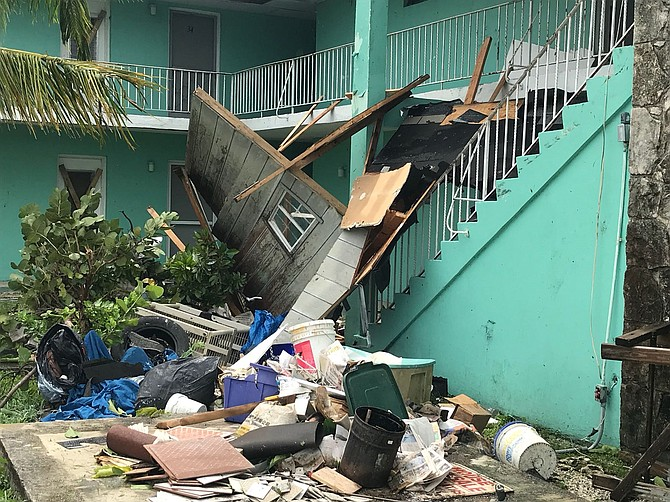 This photo sent to The Tribune shows damaged property in Grand Bahama after Hurricane Irma.