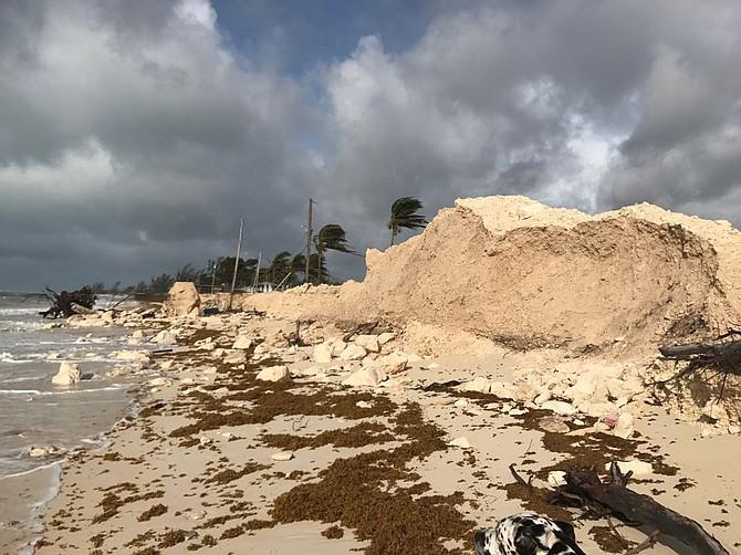 Beach erosion in north Bimini after Hurricane Irma.