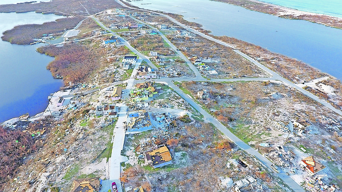 An aerial view of the damage on Ragged Island. Photo: Terrel W Carey