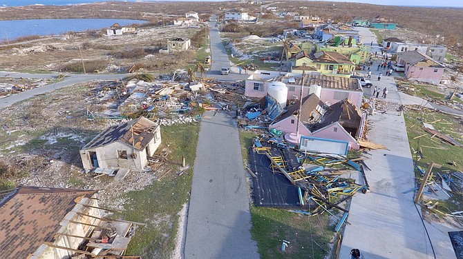 Hurricane damage on Ragged Island pictured in 2017 after Irma.