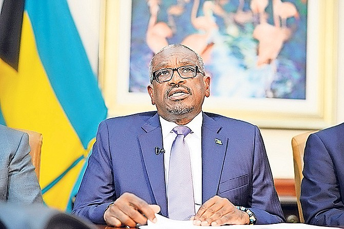 Prime Minister Dr Hubert Minnis making a national address yesterday with other Cabinet ministers to encourage Bahamians on every island to prepare for Hurricane Maria. Photo: Shawn Hanna/Tribune Staff