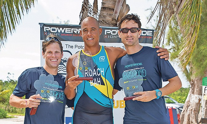 From left: Mark Dietrich (third place), Cameron Roach (1st) and Simon Lowe (2nd) after the Powerade Potcakeman Triathlon.