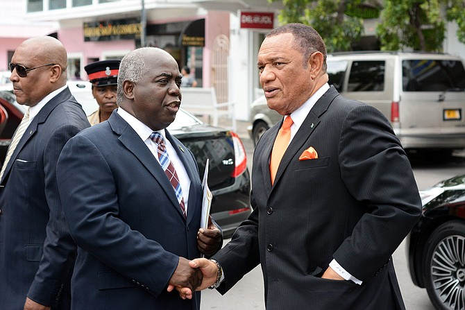 PLP leader Philip 'Brave' Davis and former Prime Minister Perry Christie.