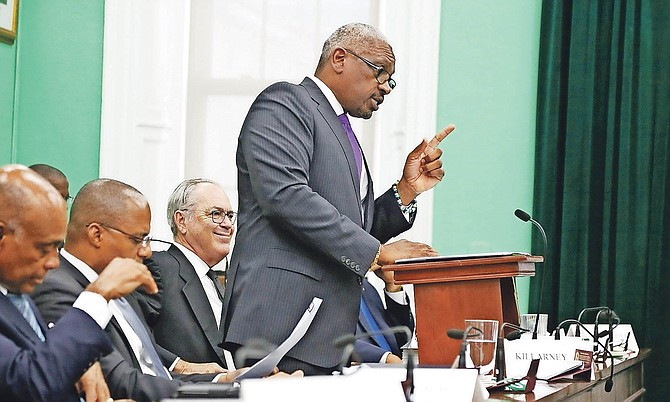 Prime Minister Dr Hubert Minnis speaks in the House of Assembly. Photo: Terrel W Carey/Tribune staff