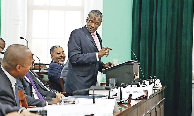 Minister of Works Desmond Bannister in the House of Assembly.