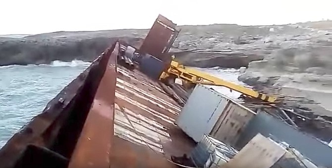 A still from the video of the grounded barge.