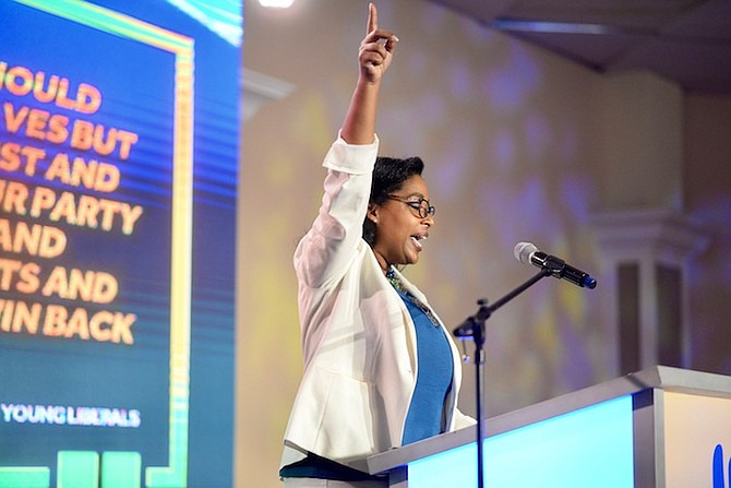 Monique Pindling, daughter of Sir Lynden Pindling, speaks at the PLP convention. Photo: Shawn Hanna/Tribune staf
