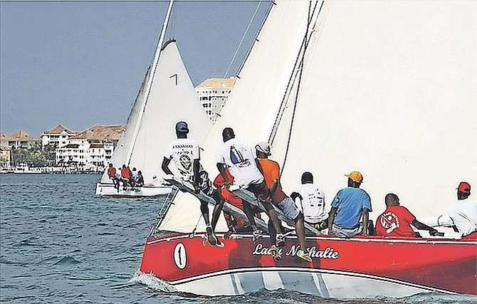 The Lady Nathalie and crew in Montagu Bay during the Sir Durward Knowles 100 Regatta over the weekend.