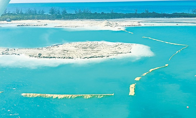 Gaps in the silt barriers at Cat Cay.