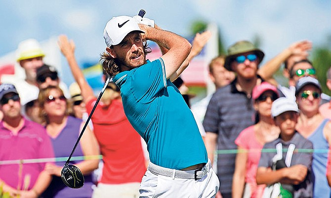 Tommy Fleetwood, of Britain, tees off from the first hole yesterday during the Hero World Challenge golf tournament at Albany Golf Club in Nassau, Bahamas.