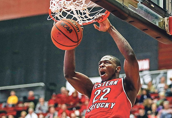 Western Kentucky forward Dwight Coleby dunks against Austin Peay during an NCAA college game on December 22, 2017. (AP)