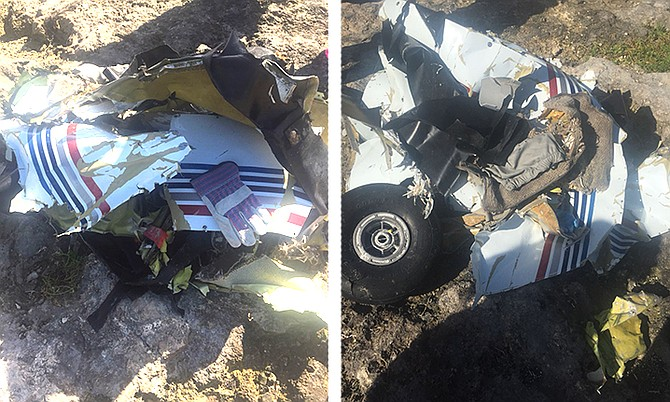 Photos from social media reportedly showing wreckage from the plane in Andros.