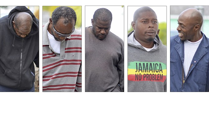 From left, Joseph Marshall, Dwain Campbell, Kenley Saunders, Myron Smith (who pleaded not guilty) and Ron Austin. 