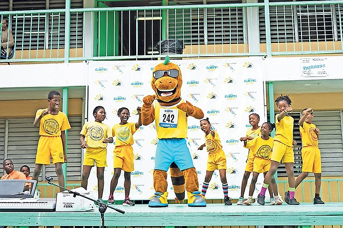 Iggy the Carifta mascot was welcomed by students at Yellow Elder Primary School as the countdown continues to this year's games.