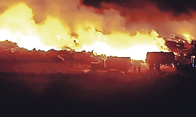 The dump on fire on Saturday.