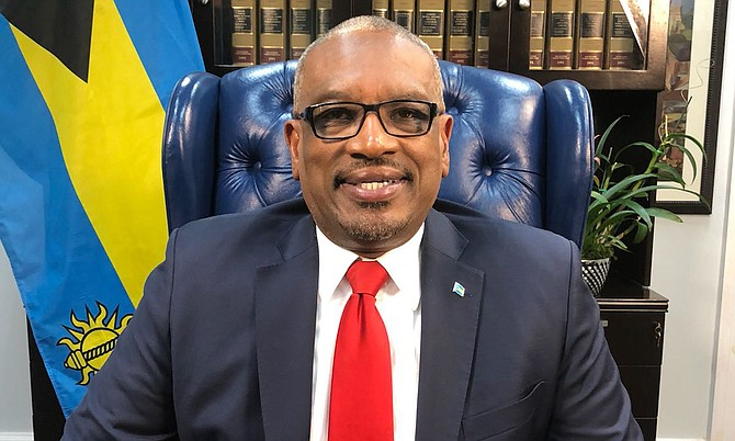 Prime Minister Dr Hubert Minnis delivers his address.