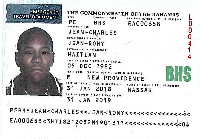 THE emergency travel document for Bahamas-born deportee Jean Rony Jean-Charles.