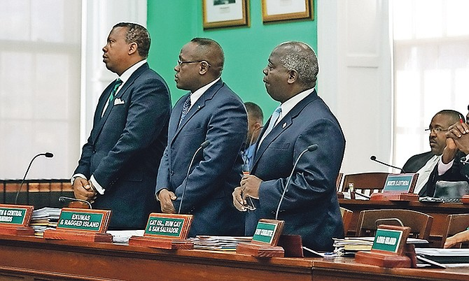 South Andros and Mangrove Cay MP Picewell Forbes, Exuma and Ragged Island MP Chester Cooper and PLP Leader Philip 'Brave' Davis in the House of Assembly. Photo: Terrel W Carey/Tribune staff