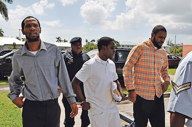 THE three men accused of the double murder and armed robbery – Kevin Dames, Devaughn Hall and Paul Belizaire – at an earlier court appearance. Photo: Vandyke Hepburn