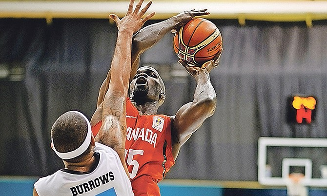 The Bahamas in action against Canada. Photo: Shawn Hanna/Tribune staff