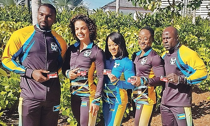 BODYBUILDERS (l-r) Enderich Rahming, Angelika Wallace-Whitfield, Lorraine LaFleur, Tanya Moxey-Cleare and Jimmy Norius.