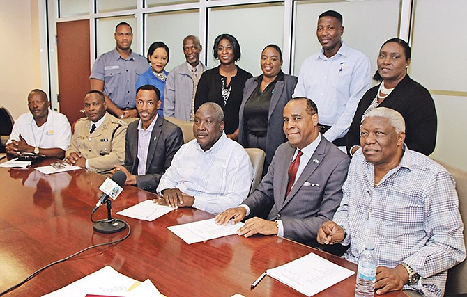 The Ministry of Youth, Sports and Culture, along with the stake holders, held a press conference on Tuesday to announce plans for the 29th National High School Track and Field Championships. Photo: Derek Smith/BIS