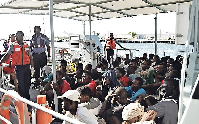 Some of the Haitian migrants who were apprehended. Photo: RBDF
