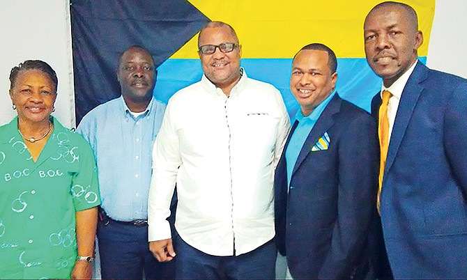 FROM LEFT:  At the BOC press conference to name the Commonwealth Games team are Cora Hepburn, Roy Colebrook, Rommel Knowles, Derron Donaldson and Ralph McKinney.
