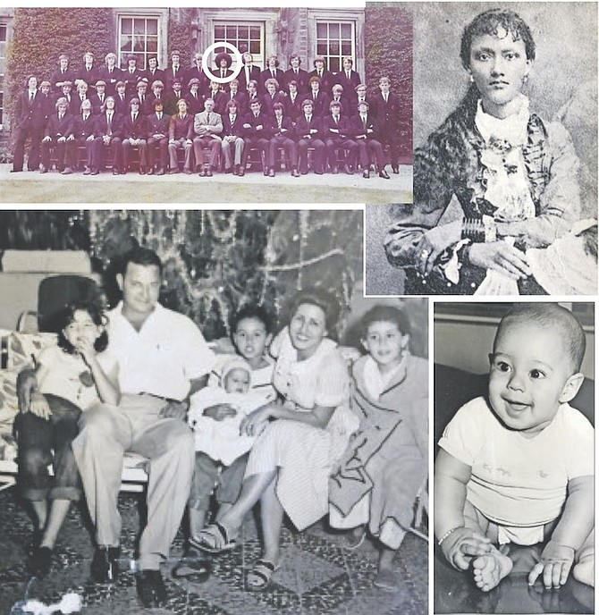 TOP LEFT: The young Fred Smith is circled with a hairstyle to stand out from the crowd at school. TOP RIGHT: Arabella Simms, Fred Smith's great-great-grandmother. ABOVE: The young Fred Smith and his family in Haiti in 1956. From left, his sister Gladys, his father, his sister Norma holding Fred as a baby, his mother Julia and then his sister Joyce. ABOVE RIGHT: Baby Fred at the age of five months.