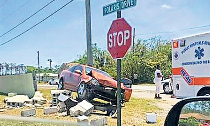 The scene of the crash in Freeport on Sunday.