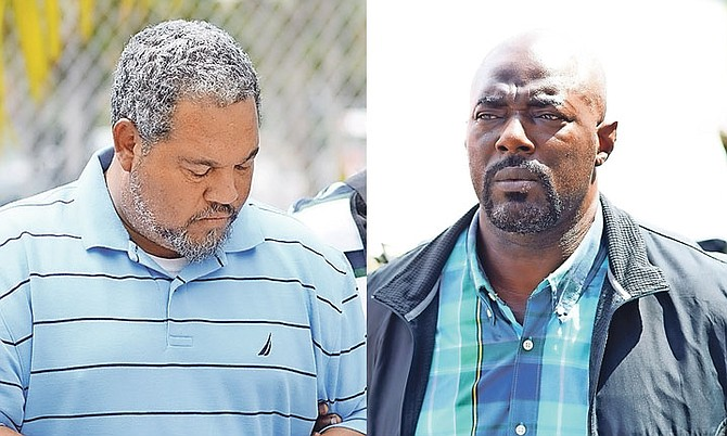DWIGHT Major (left) and Romell Virgil Rolle outside court. 