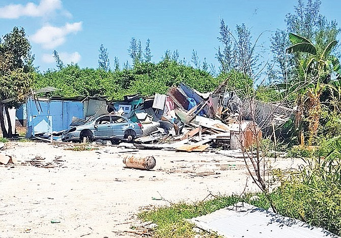 The shanty town at Hamster Road, in southern New Providence, where demolition has already taken place. Photo: Morgan Graham