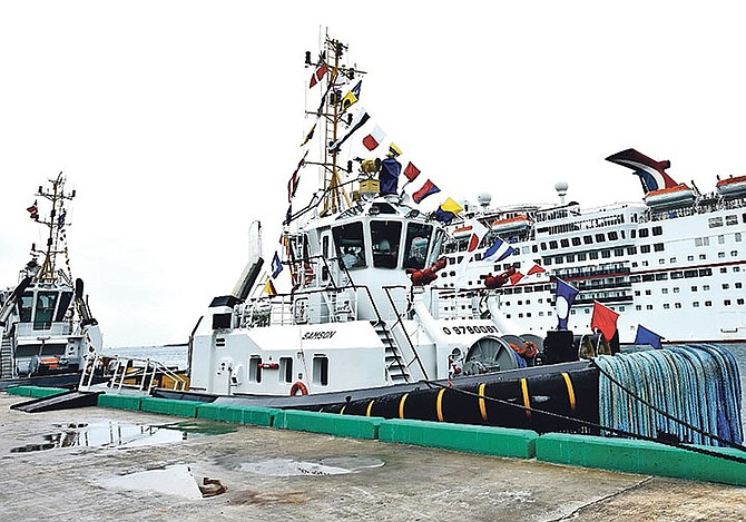 The two new tug boats in Nassau Harbour.