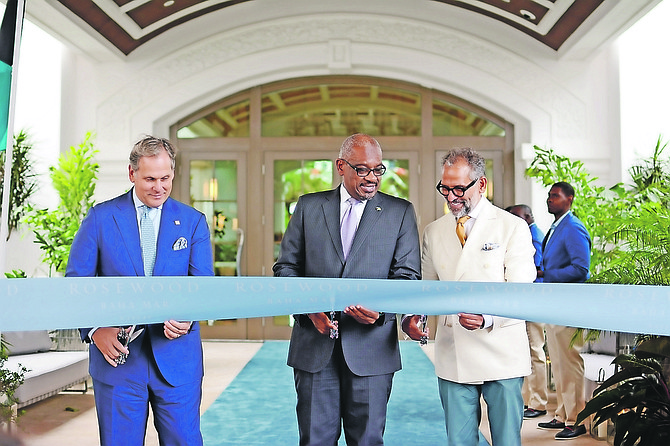 Prime Minister Dr Hubert Minnis at the Rosewood ribbon cutting ceremony.