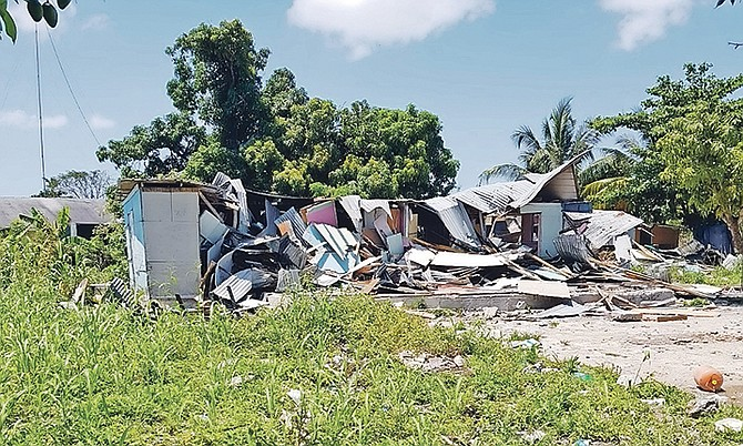 A demolished property at the Hamster Road shanty town in New Providence.