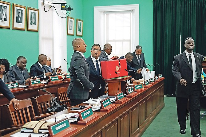 The FNM government members at the Budget communication delivered in the House of Assembly by Deputy Prime Minister Peter Turnquest. Photo: Terrel W. Carey/Tribune Staff