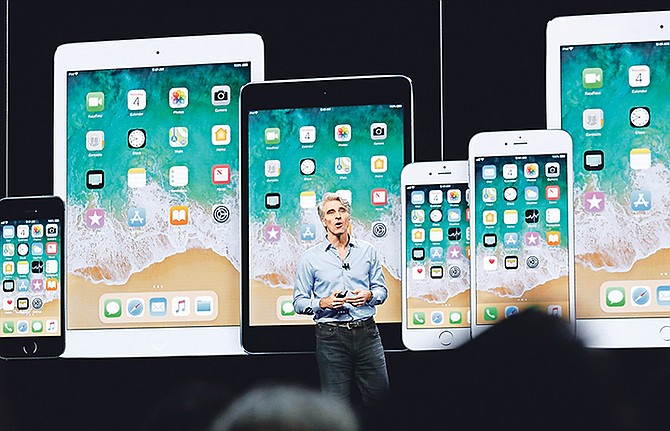 Craig Federighi, Apple's senior vice-president of Software Engineering, speaks during an announcement of new products at the Apple Worldwide Developers Conference on Monday. Photo: Marcio Jose Sanchez/AP