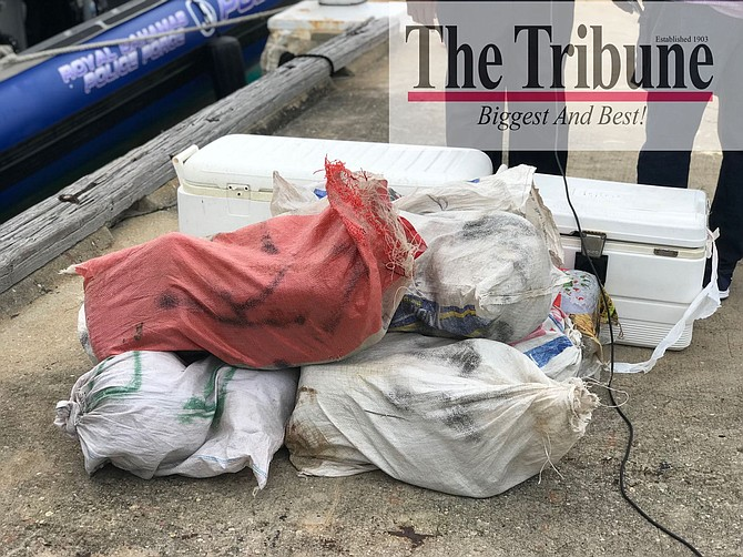 The drugs which were recovered in Exuma and brought back to Nassau. Photo: Terrel W Carey/Tribune staff
